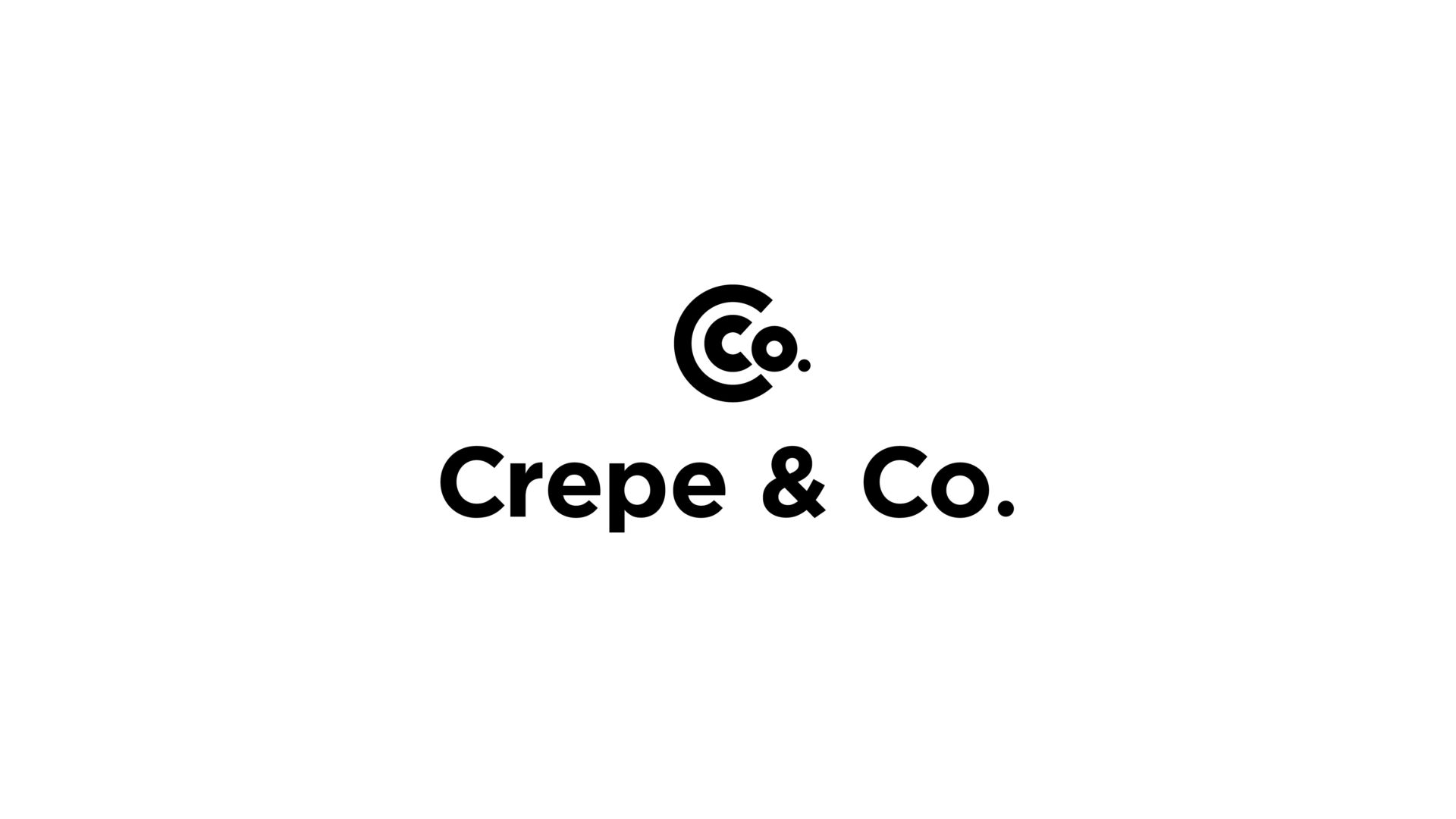 black and white Crepe and Co logo
