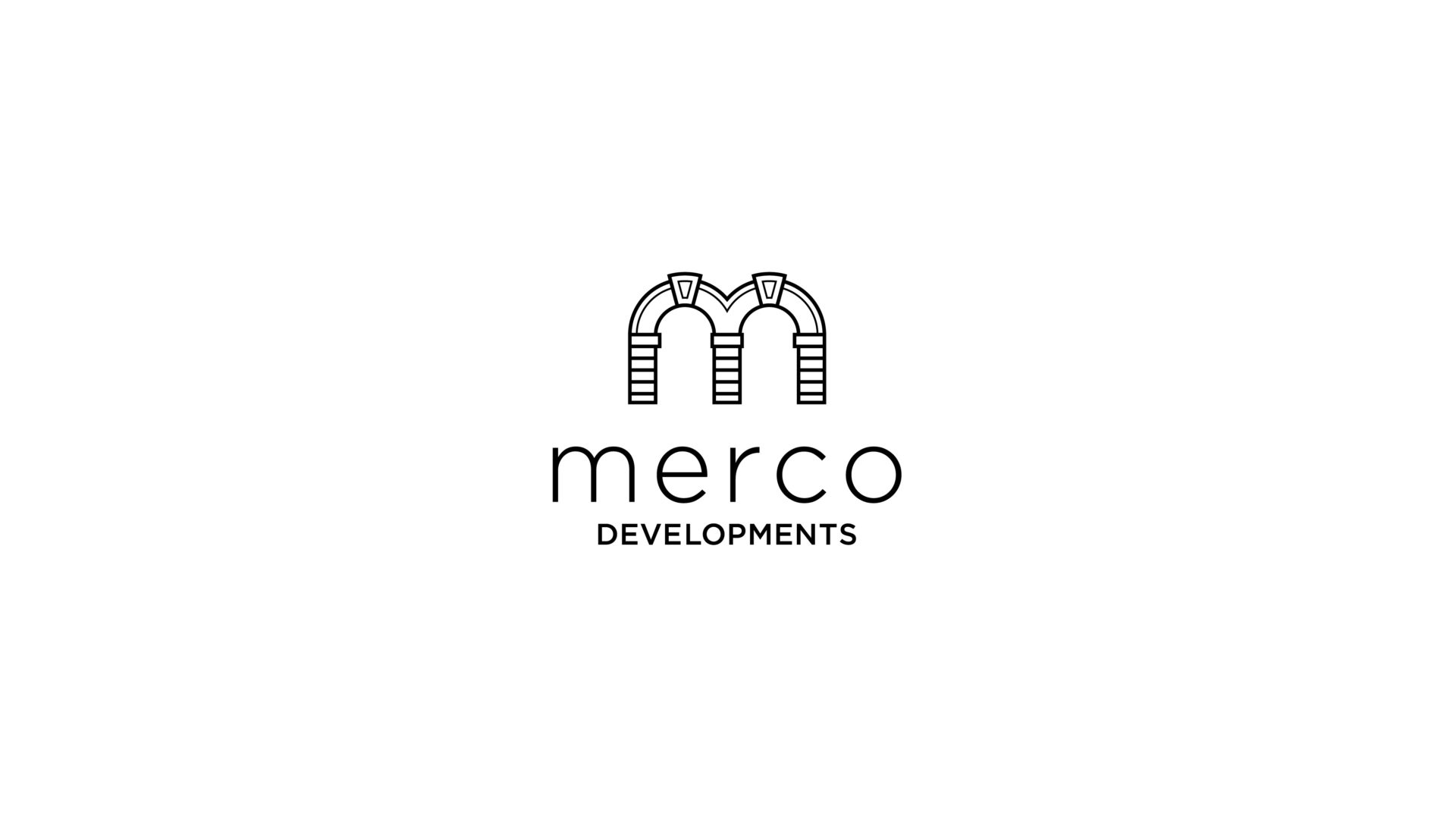 black and white Merco Developments logo
