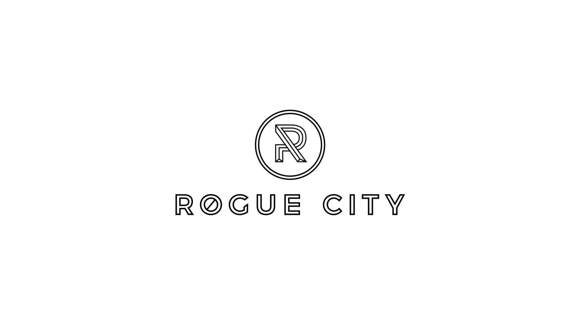 black and white Rogue City logo