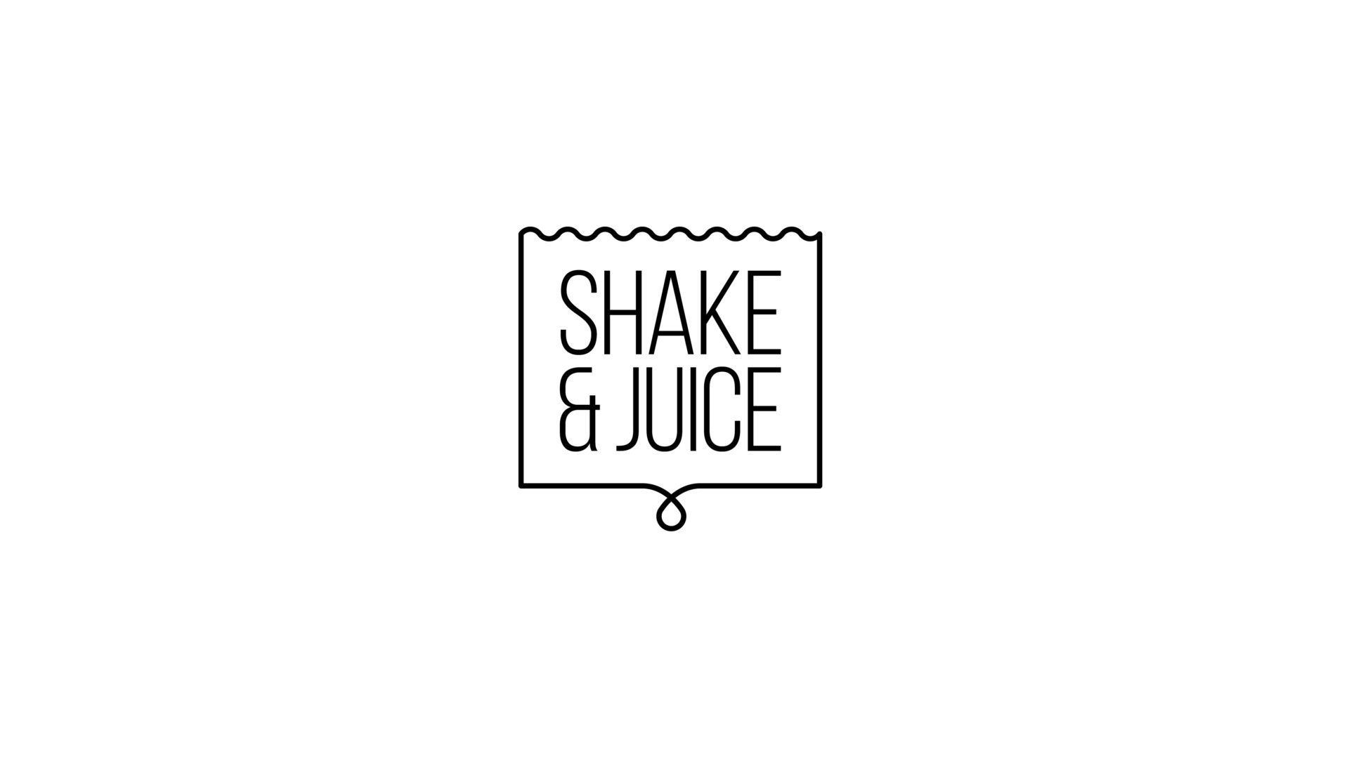 black and white Shake and Juice logo